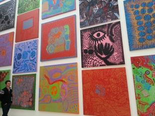 Wall of Yayoi Kusama's paintings